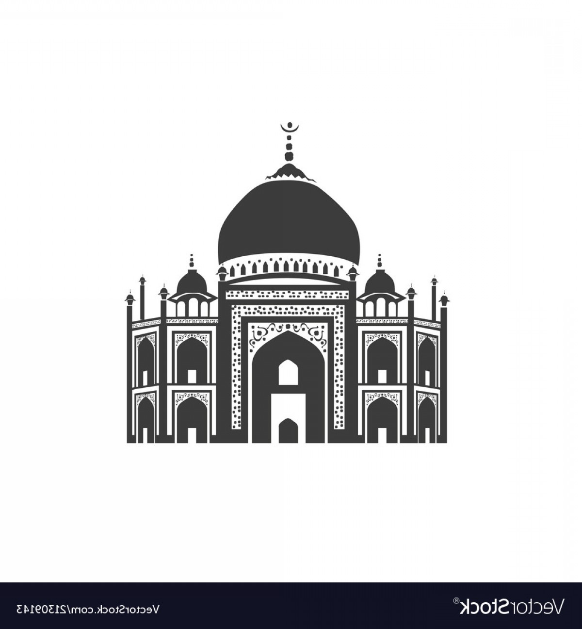 Taj Mahal Vector: Icon Of Taj Mahal Vector