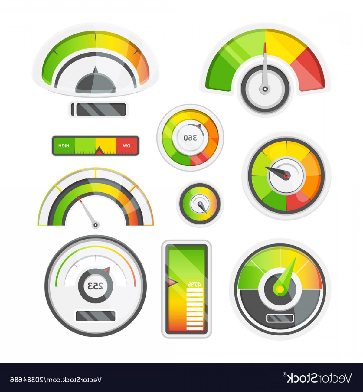 Low High Meter Vector: Icon Set Of Level Meters Tachometer And Battery Vector