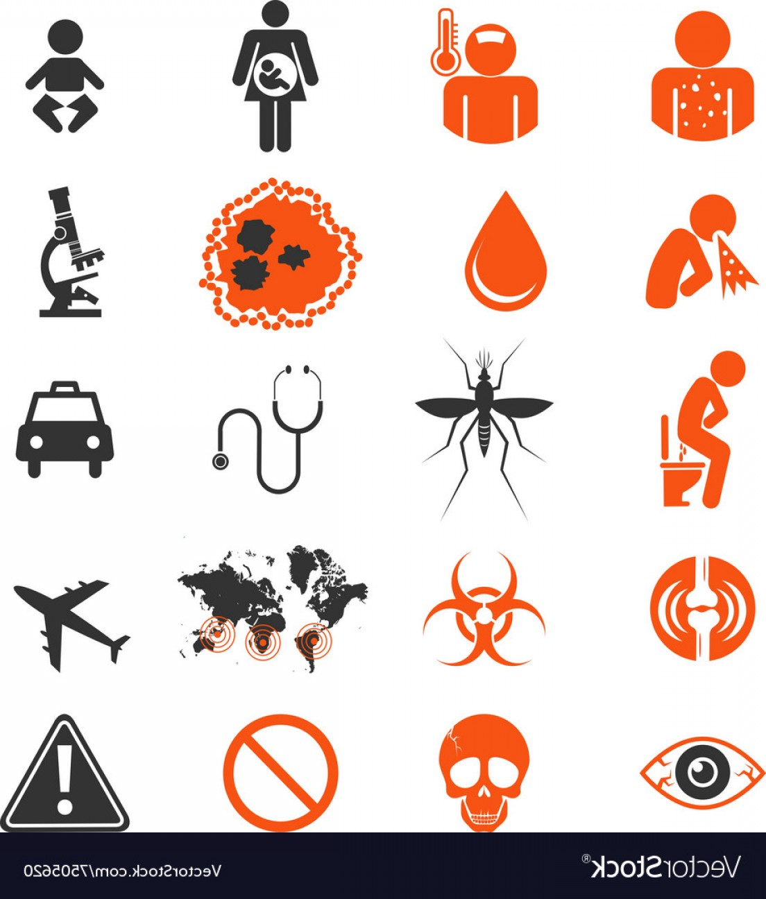 Vector -Borne Infection: Icon Set Of Zika Virus Infection Vector
