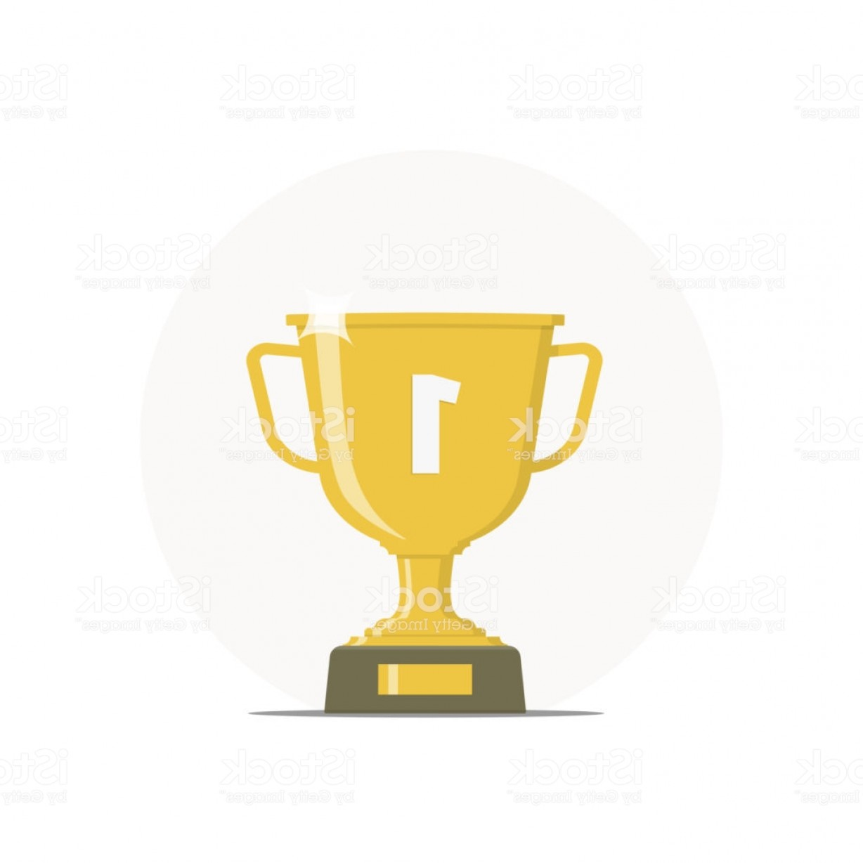 Gold Trophy Vector: Icon Winner Cup Gold Trophy First Place Vector Illustration In Flat Style Gm