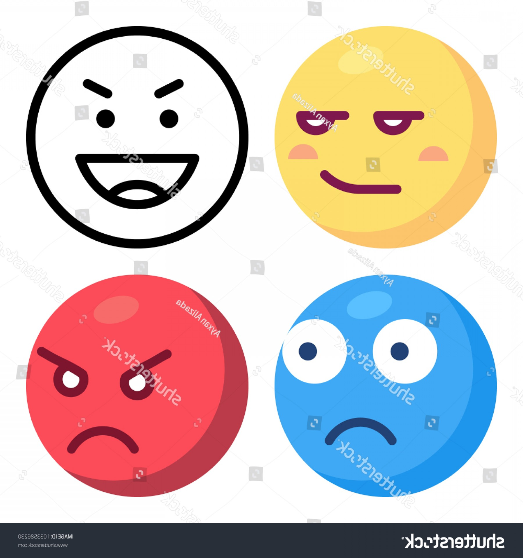 Angry Emoji Vector Icons: Icons Emoji Vector Angry Happy Smirking