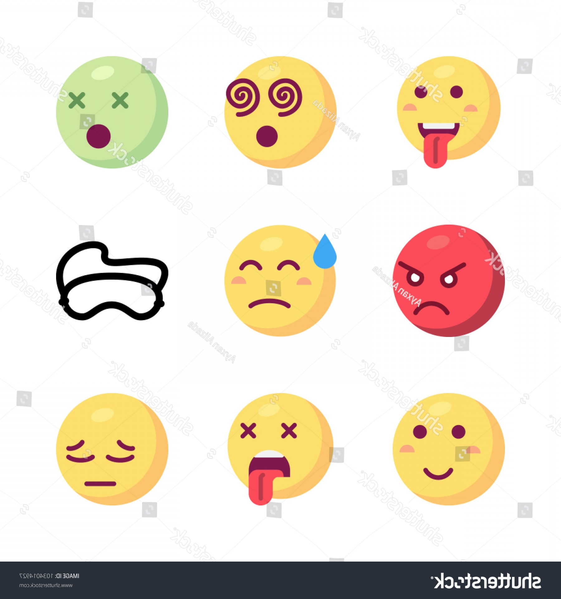 Angry Emoji Vector Icons: Icons Emoji Vector Dizzy Angry Sweat