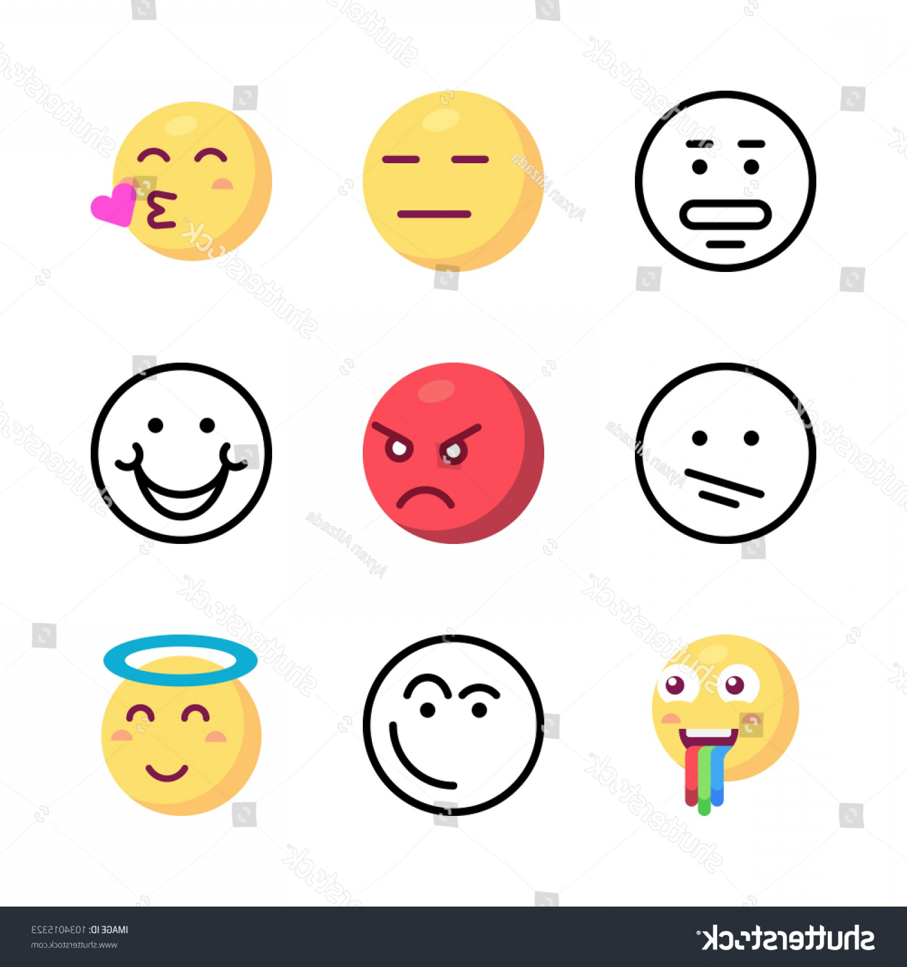 Angry Emoji Vector Icons: Icons Emoji Vector Shocked Happy Angry