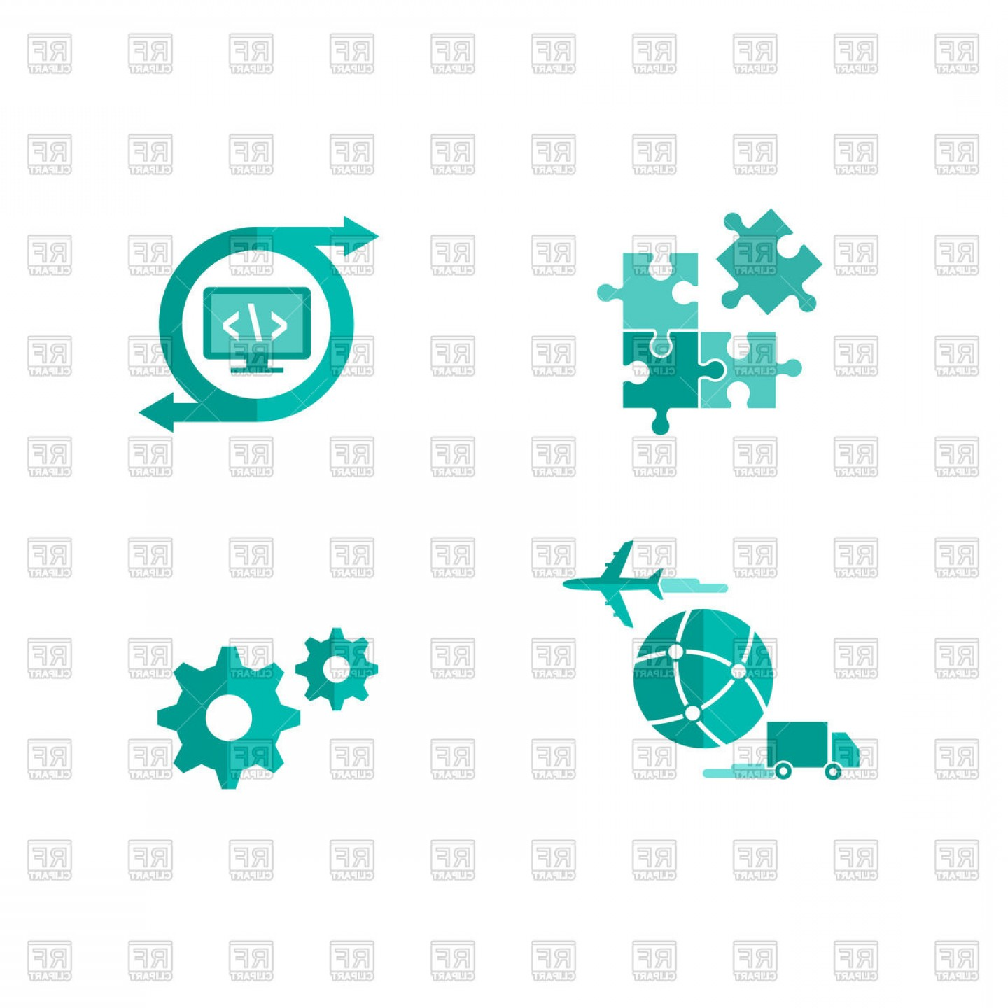 Free Vector File Software: Icons For Integrated And Customized Shipping Software Vector Clipart