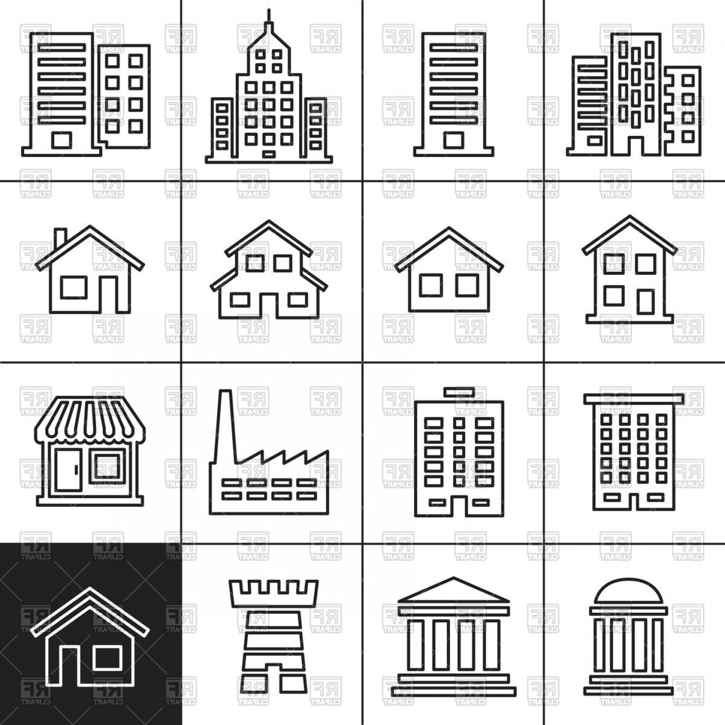 Architecture Vector: Icons Of Buildings Of Different Architecture Types Vector Clipart