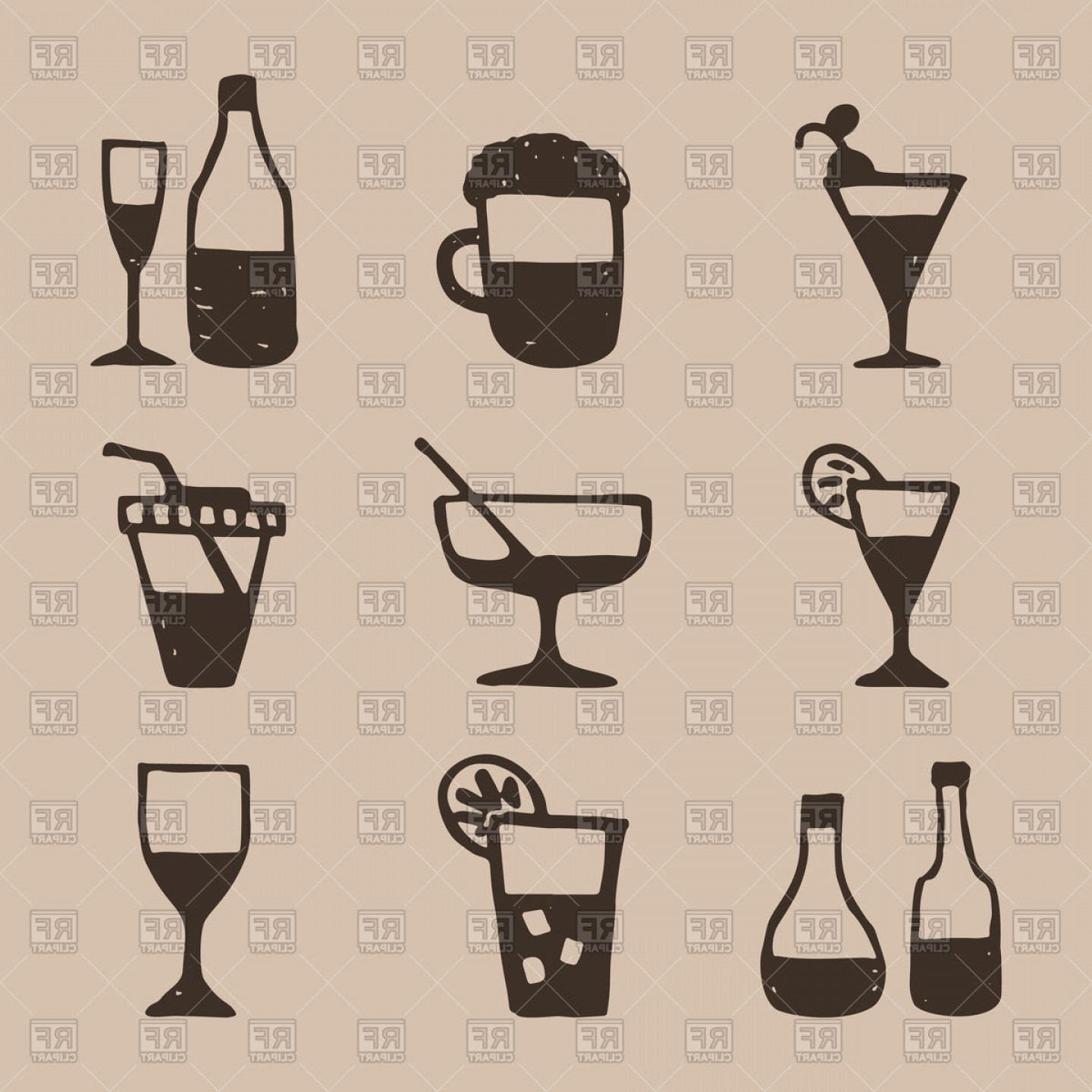 Alcohol Vector: Icons Set Of Hand Draw Style Alcohol Vector Clipart
