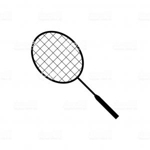 Black And White Vector Sports Equipment: Icon Badminton Badminton Racket Icon Black On A White Background Sports Equipment Gm