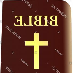Closed Bible Vector: Icon Closed Bible Golden Letters Vector