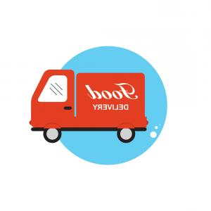 Delivery Vector Flat: Icon With Flat Graphics Element Of Food Delivery Vector