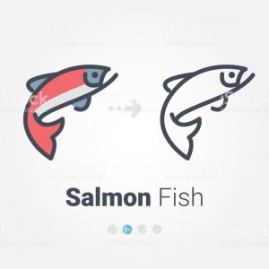 Vectored Artwork Fish Salmon: Icono De Vector De Salmcbn Gm
