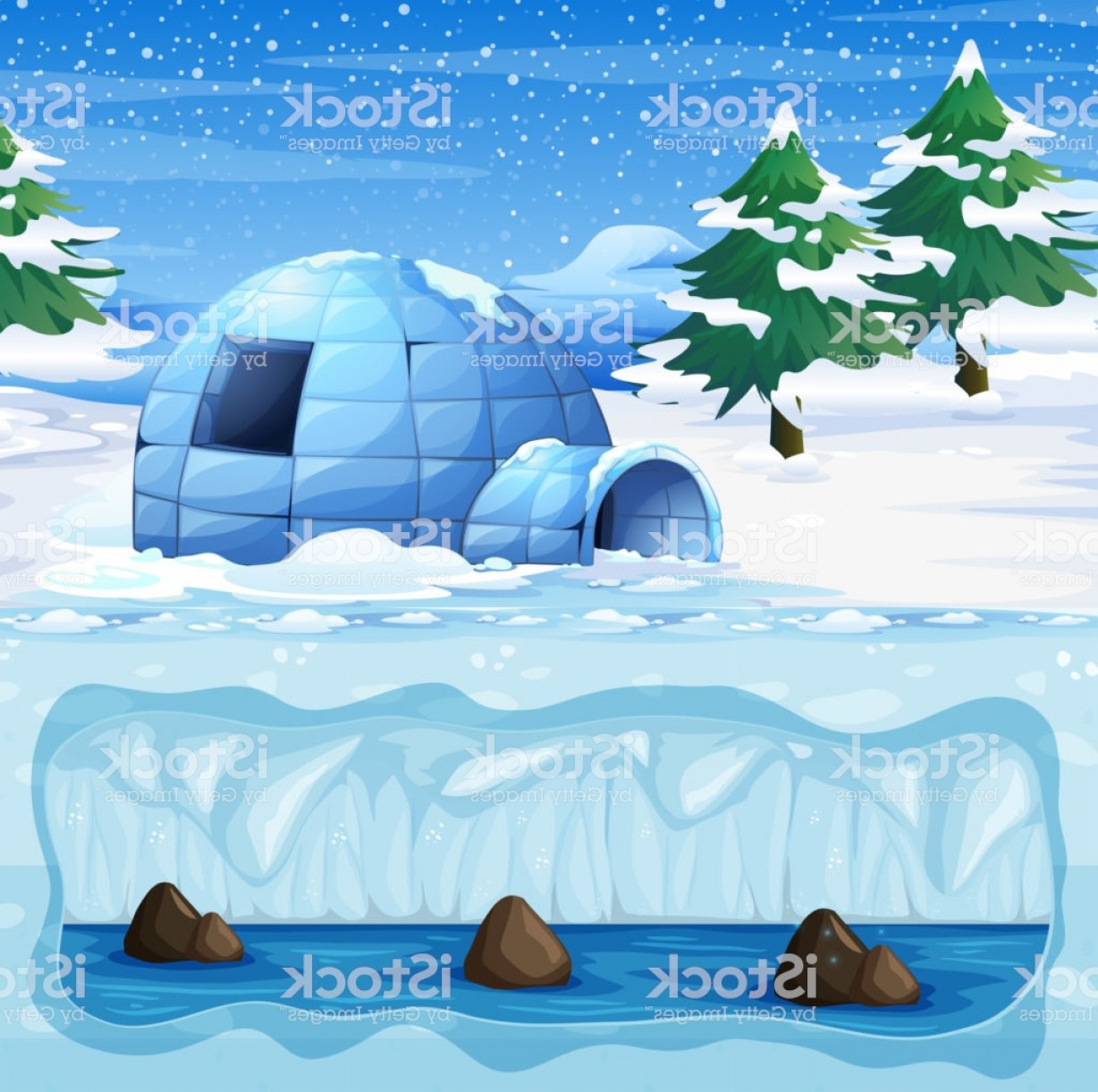 North Pole Landscape Vector: Igloo In The Cold North Pole Gm