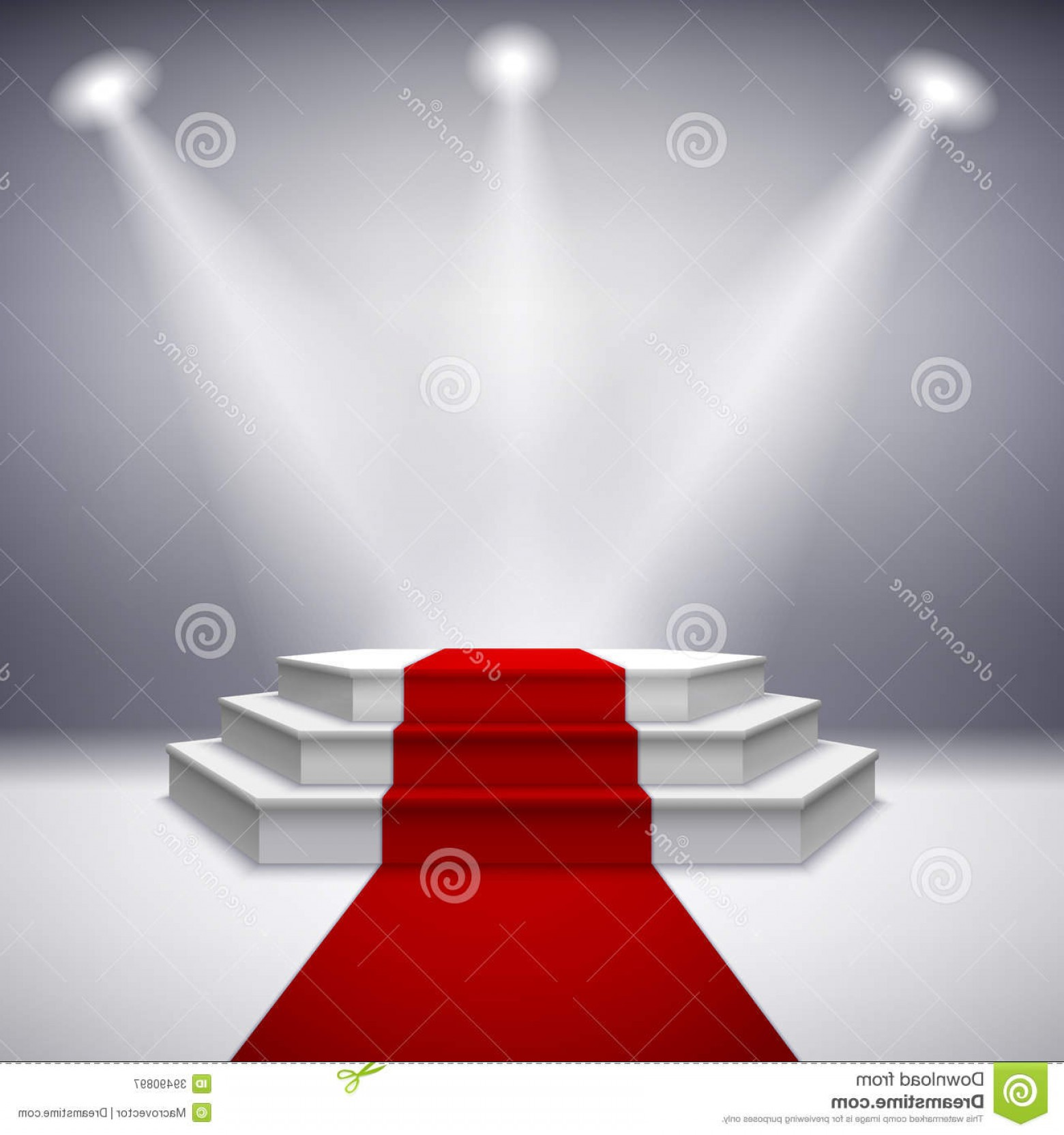 Carpet Vector 2D: Illuminated Stage Podium With Red Carpet Illustration
