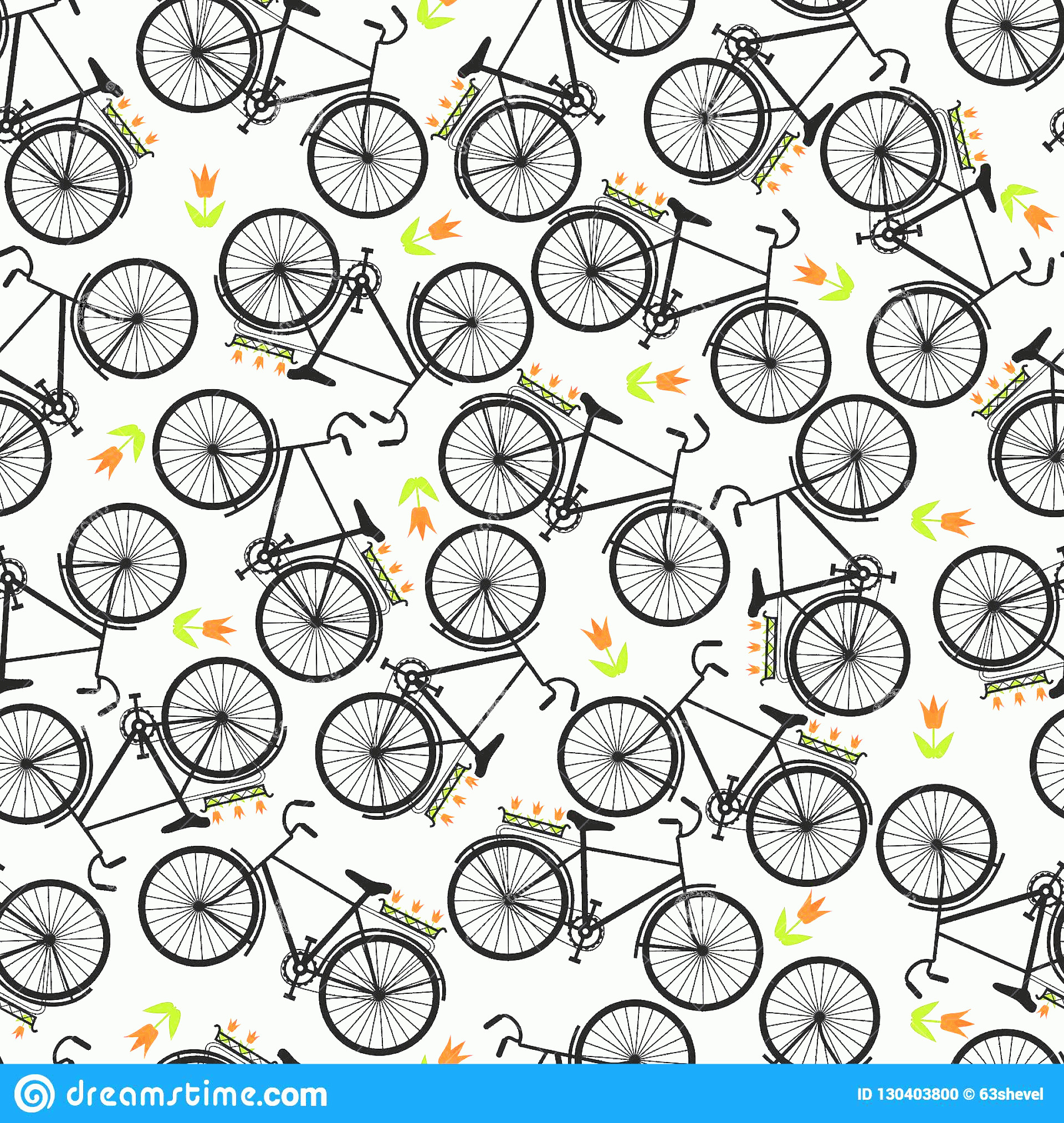 Bicycle Vector Artwork Of Patterns: Illustration Bicycle Riding Vector Seamless Pattern Bicycles Colored Image