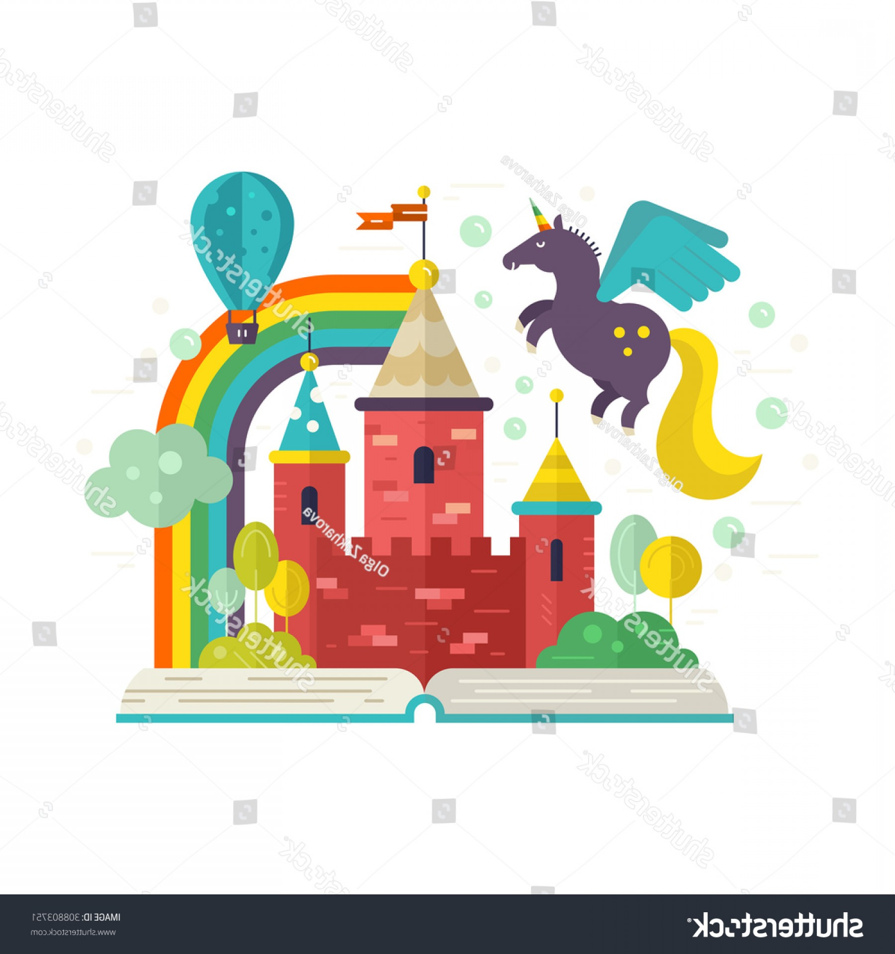 Vectors Fortress Flying: Illustration Book Fairy Castle Inside Flying