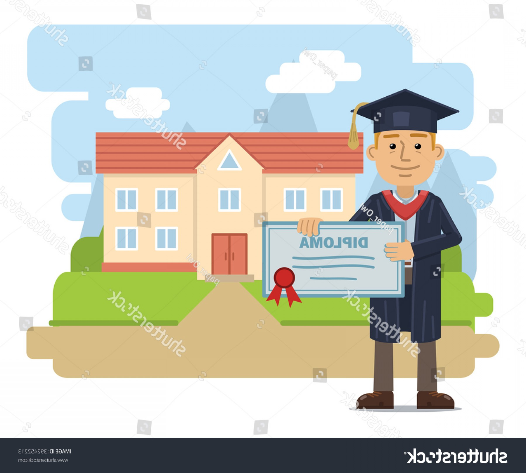 Standing Diploma Vector: Illustration Cheerful Graduate Diploma Standing Front