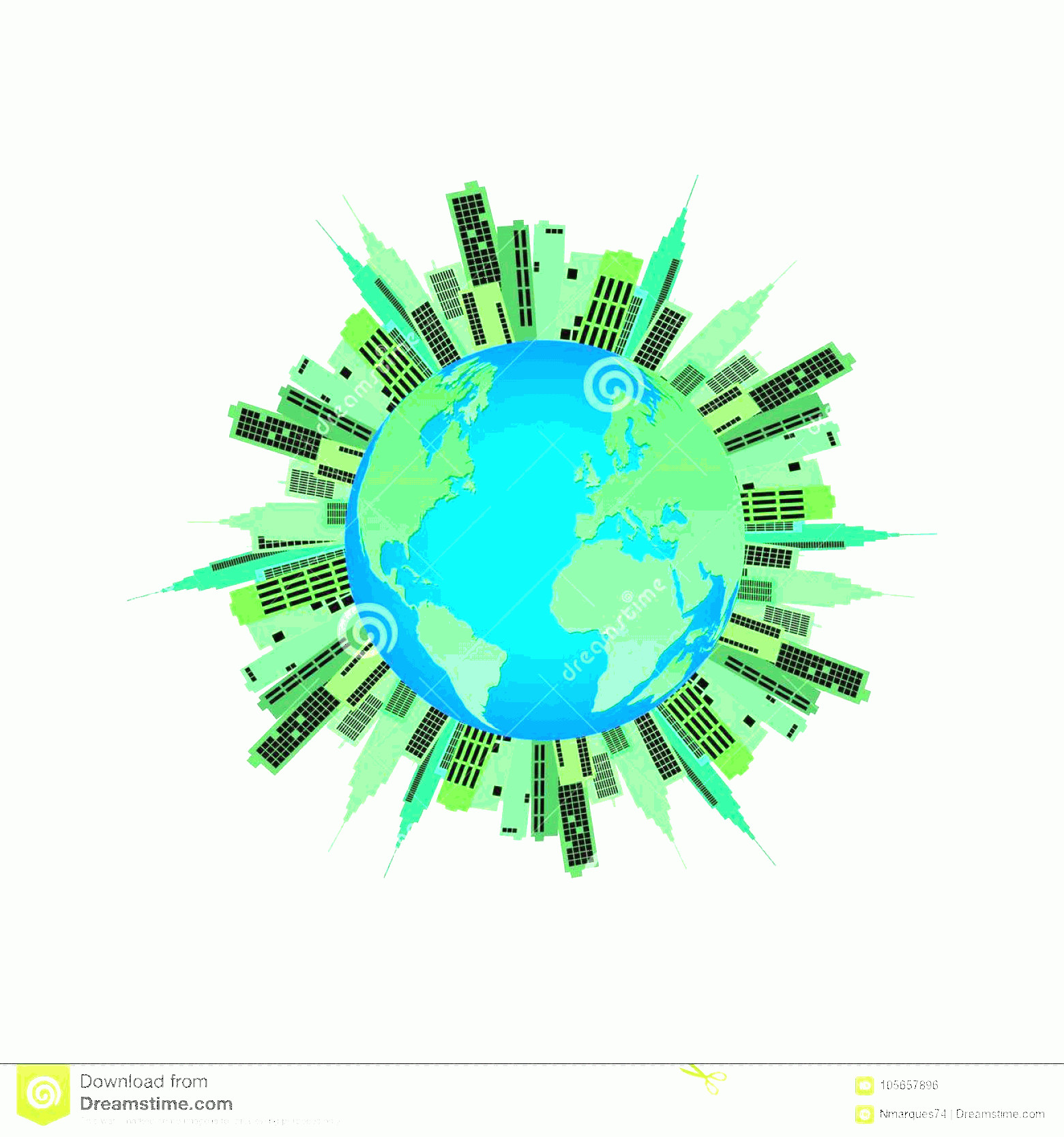 Earth With Buildings Vector: Illustration Earth Green Buildings Isolated White Background Earth Buildings Illustration Image