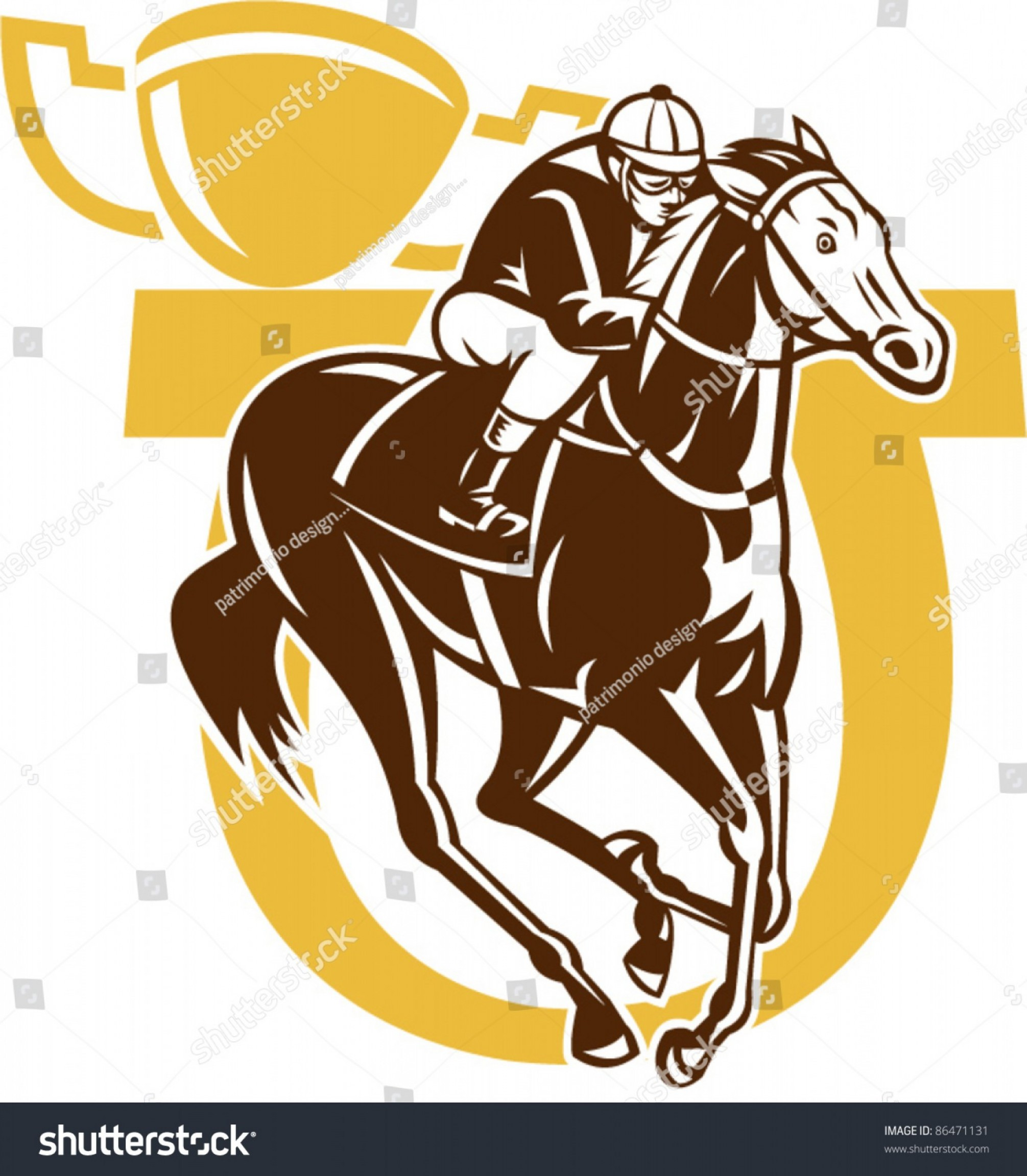 Barrel Racer Vector: Illustration Horse Racing Jockey Horseshoe Champion