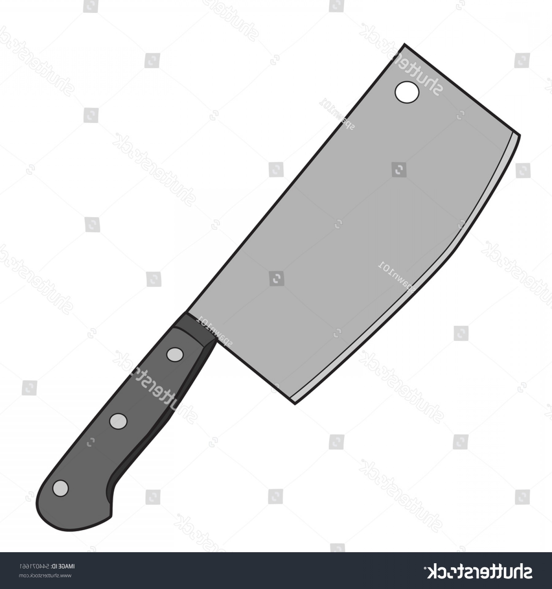 Butcher Knife Vector: Illustration Isolated Butcher Knife Cartoon Drawing