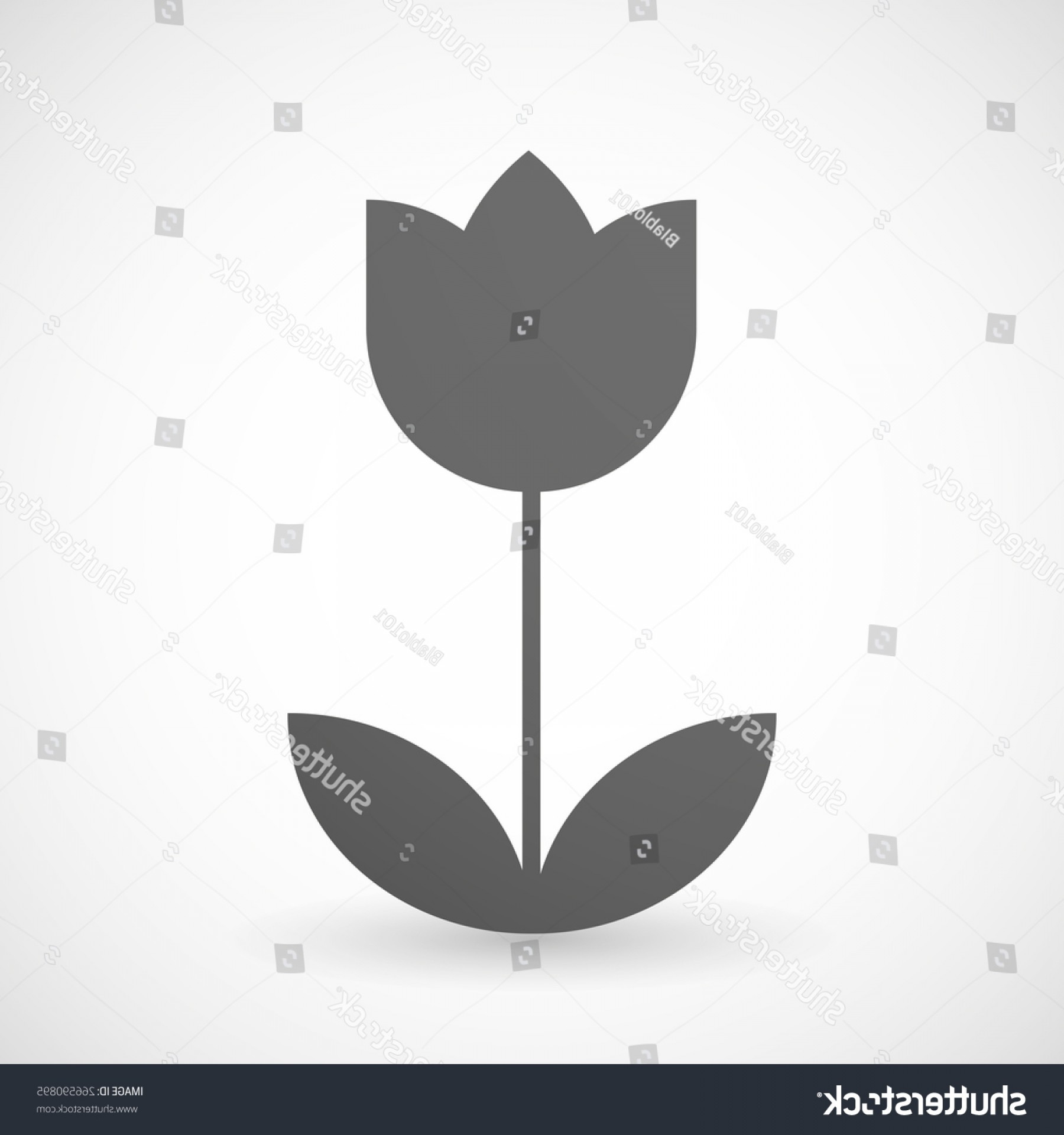 Tulip Icon Vector: Illustration Isolated Grey Tulip Icon