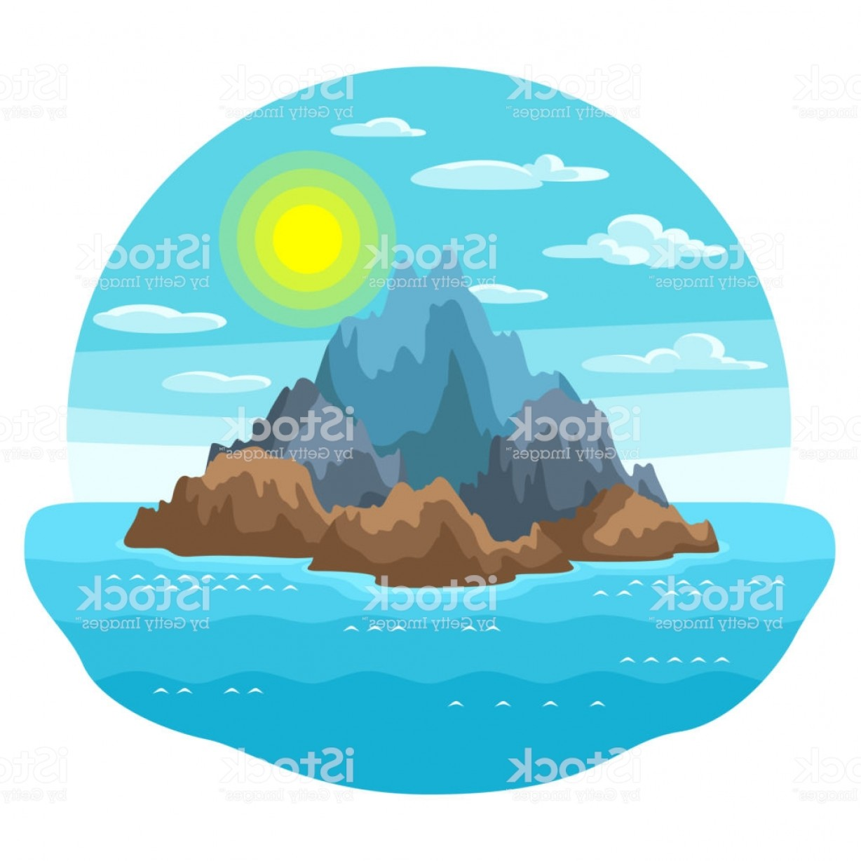 Vector Stone Landscaping: Illustration Of Rocky Island In Ocean Landscape With Ocean And Rocks Travel Gm