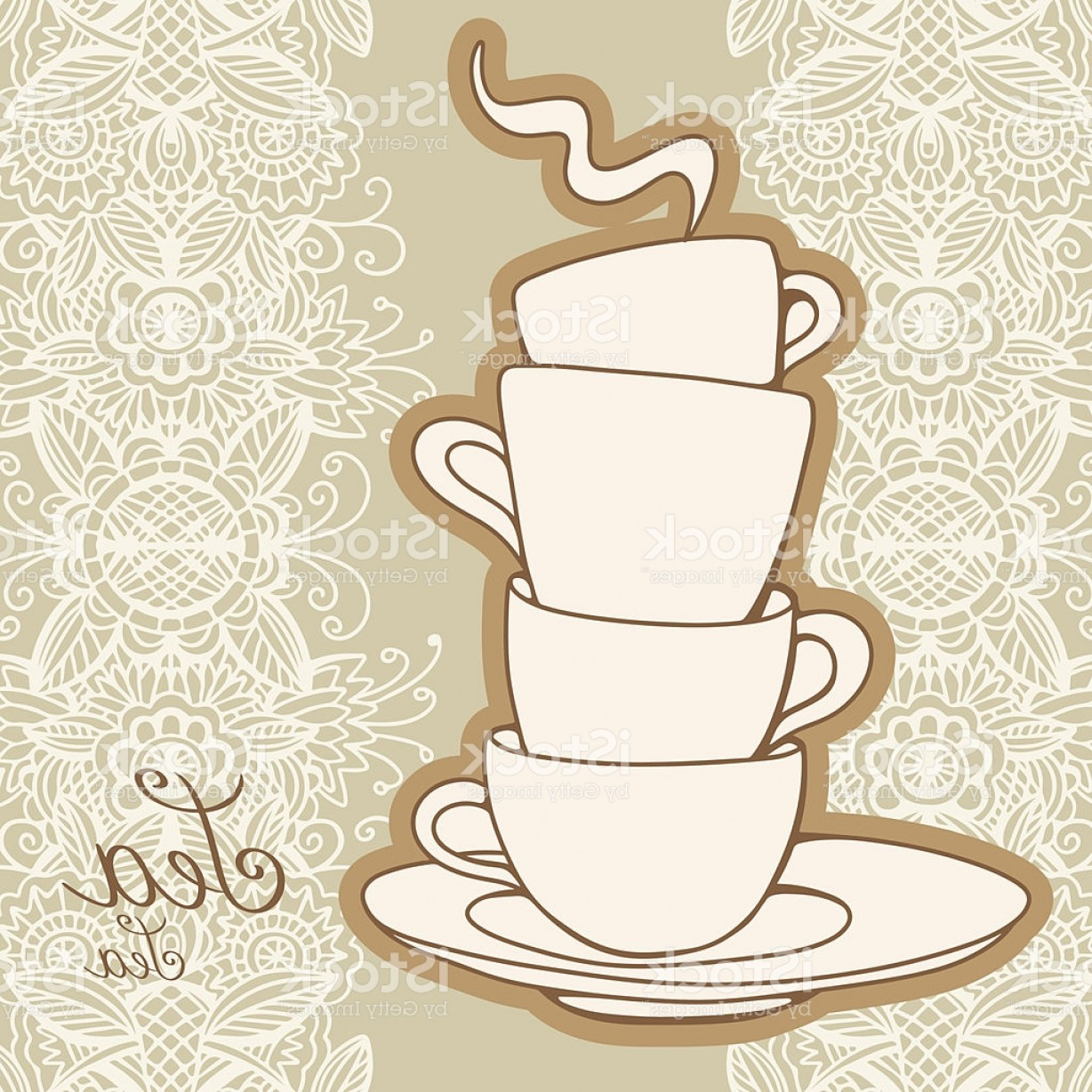 Vintage Tea Cup Vector: Illustration Of Stacked Teacups With Vintage Background Gm