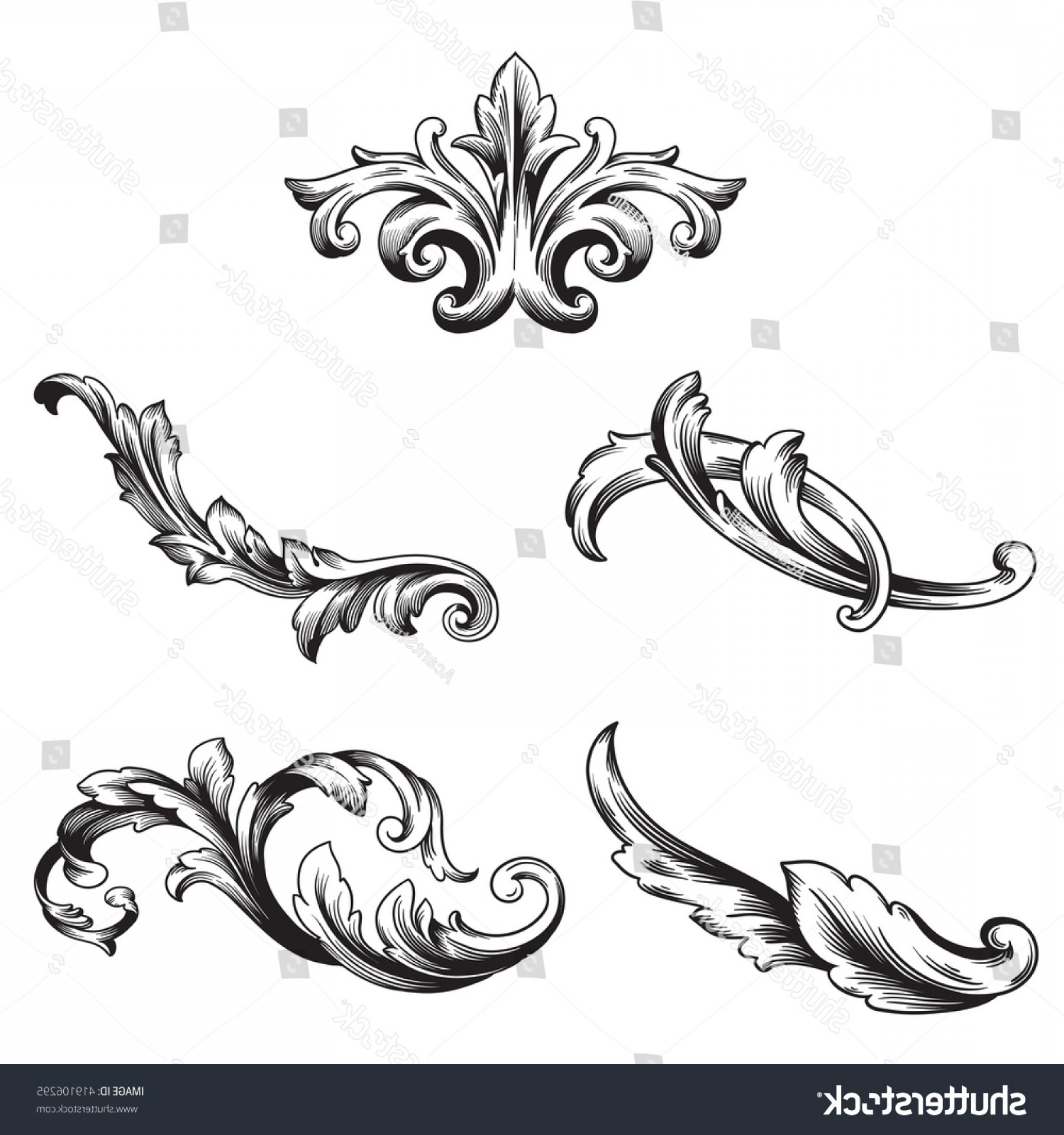Baroque Vector Clip Art: Illustration Set Vintage Design Elements Baroque