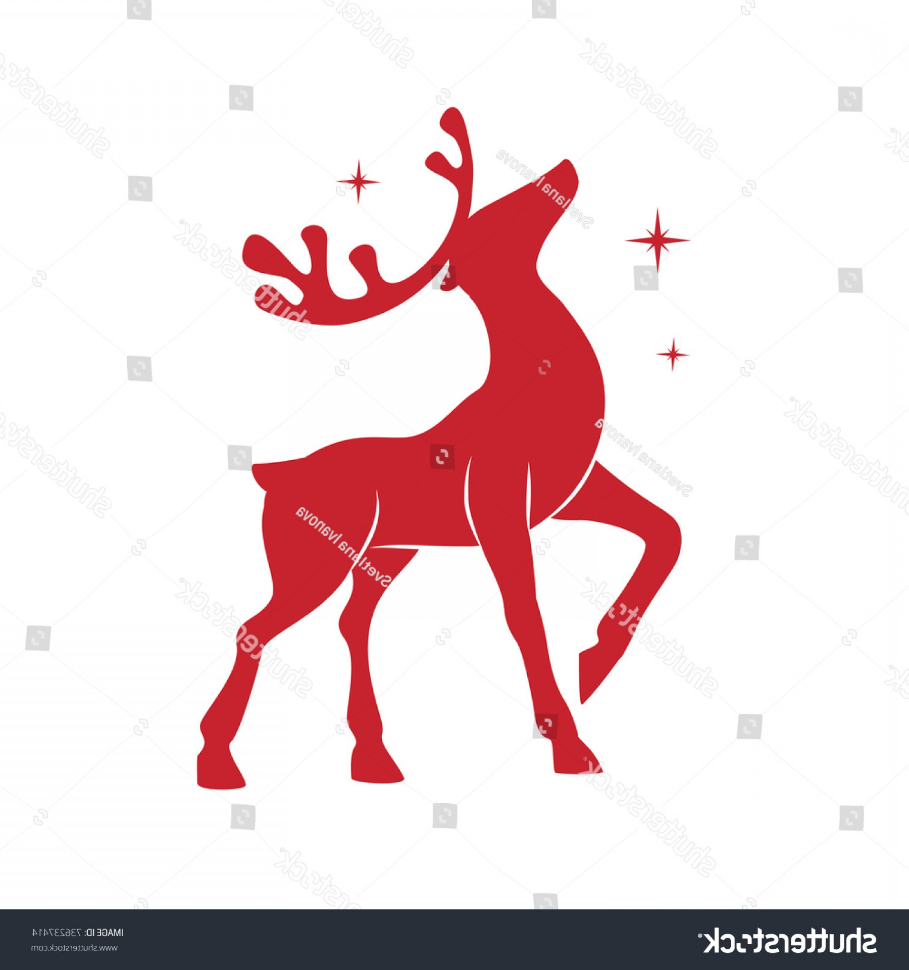 Kissing Reindeer Silhouette Vector: Illustration Silhouette Red Reindeer Isolated On