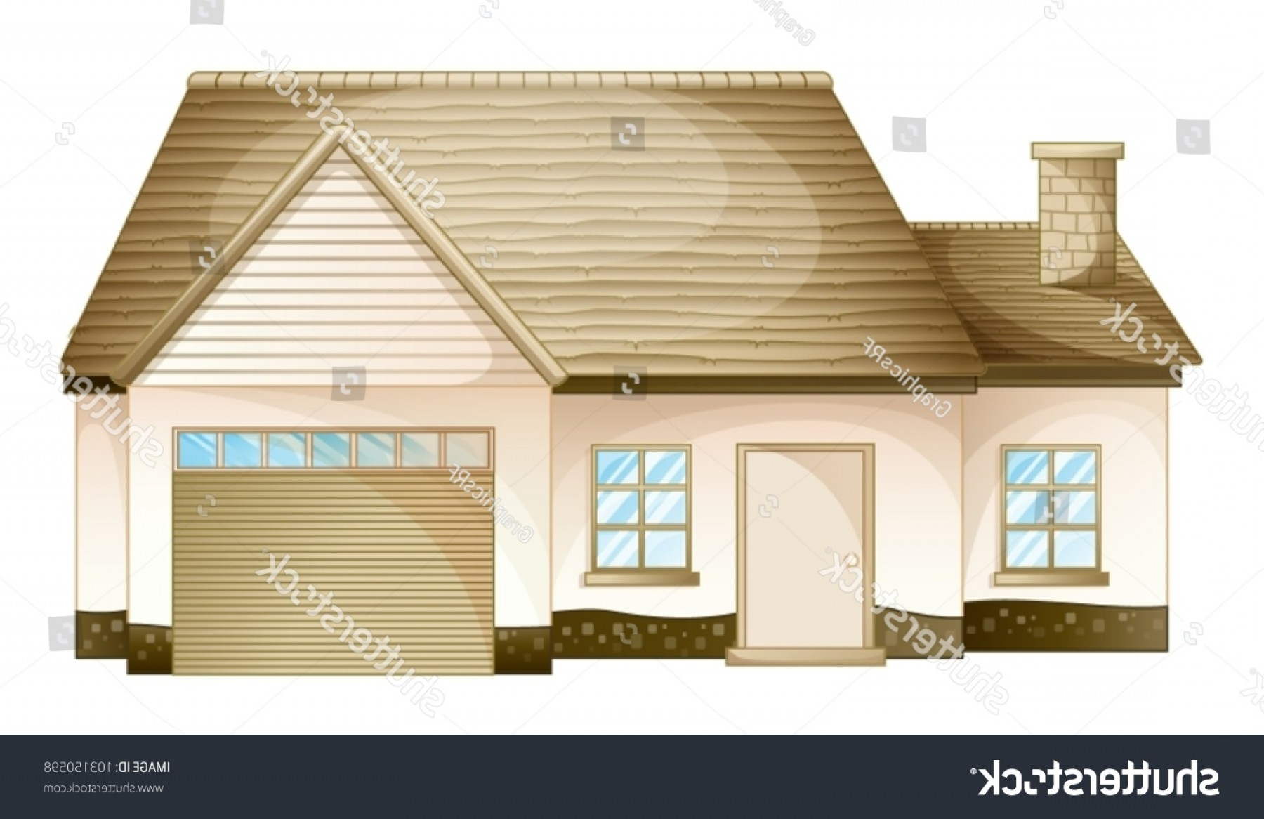 Car Vector Front Elevation: Illustration Simple House Front View