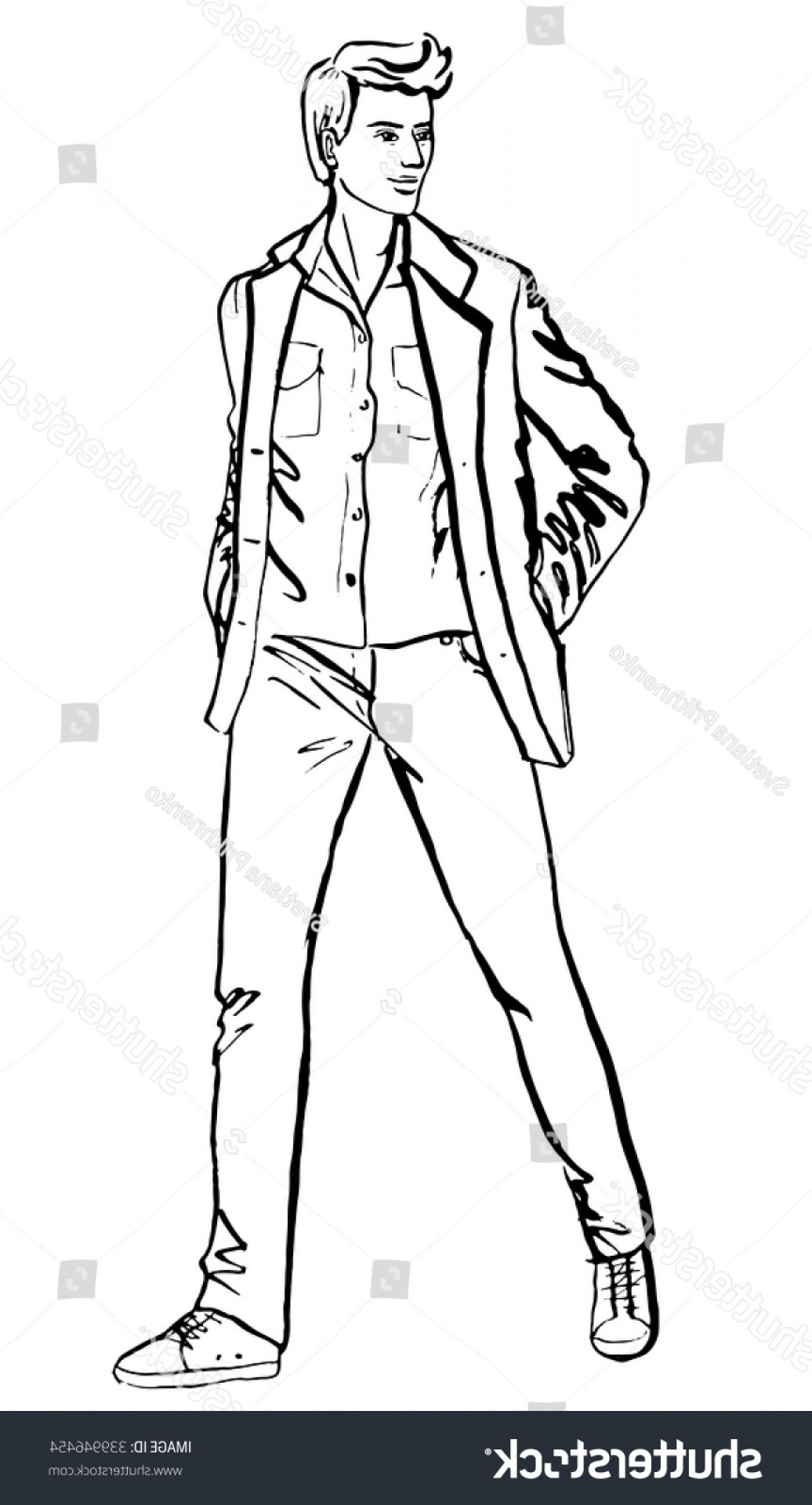 Handsome Man Vector Outline: Illustration Standing Handsome Man Fashion Outline