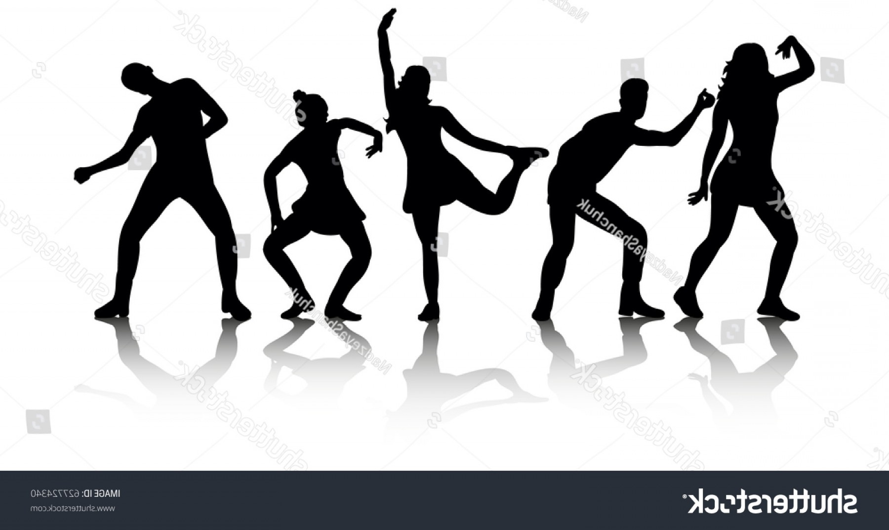 Sillouhette Vector Group: Illustration Vector Group Dancing People Silhouettes