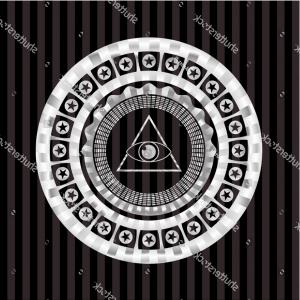 Illuminati Pyramid Vector: Illuminati Pyramid Icon Inside Silver Shiny