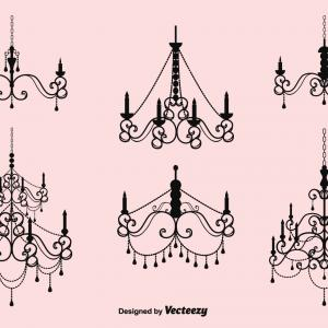 Vector Crystal Chandelier: Illustration Baroque Black Crystal Chandelier