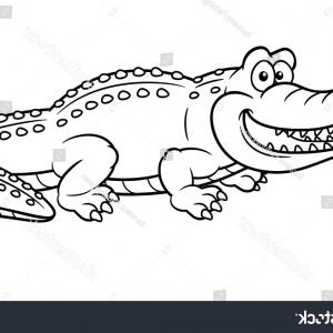 Vector The Crocodile Coloring Pages To Print: Illustration Cartoon Crocodile Coloring Book