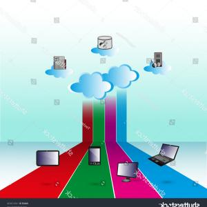Vector Applications On Computers: Illustration How Cloud Computing Network Connects