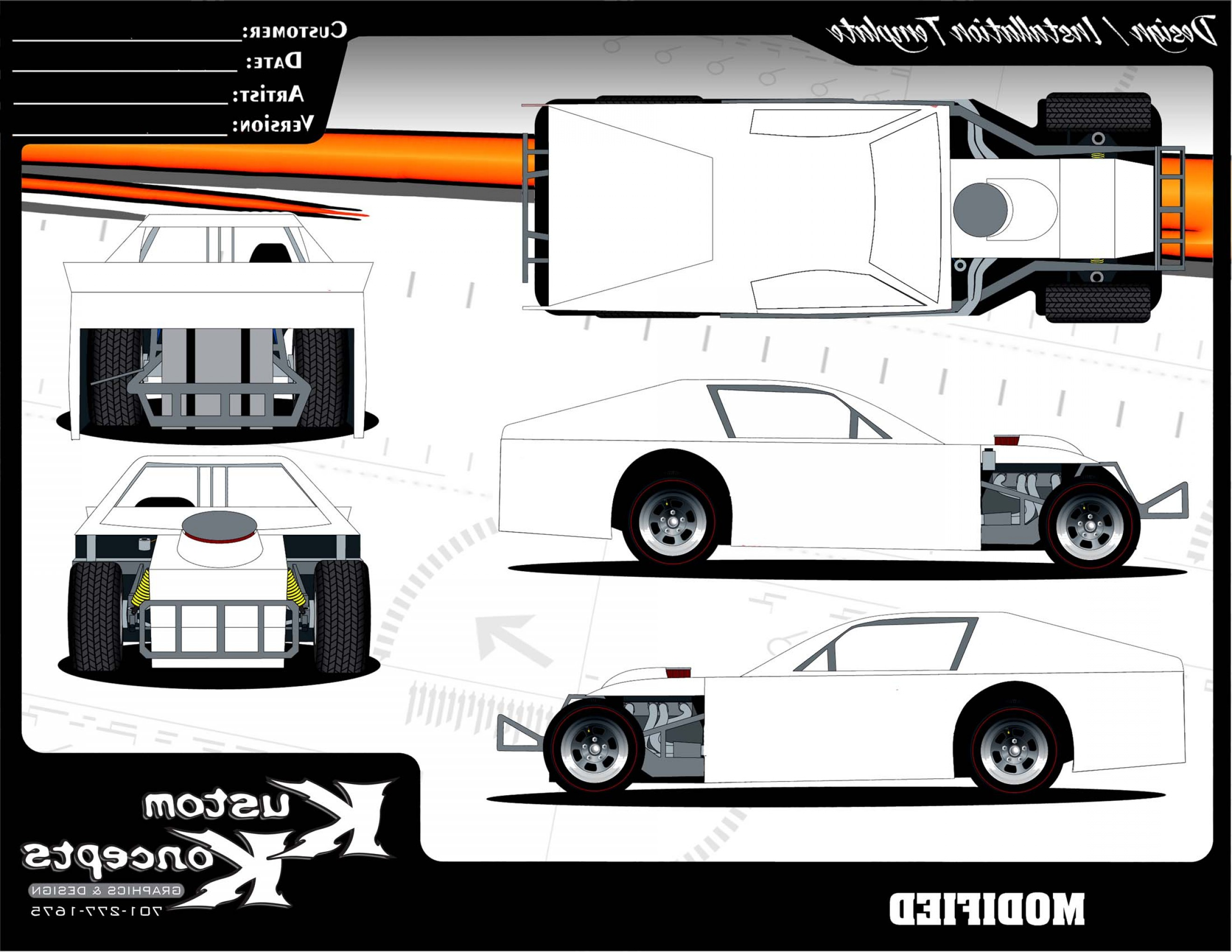 Late Model Race Car Vector Art: Images Of Modified Dirt Car Drawing Template Download