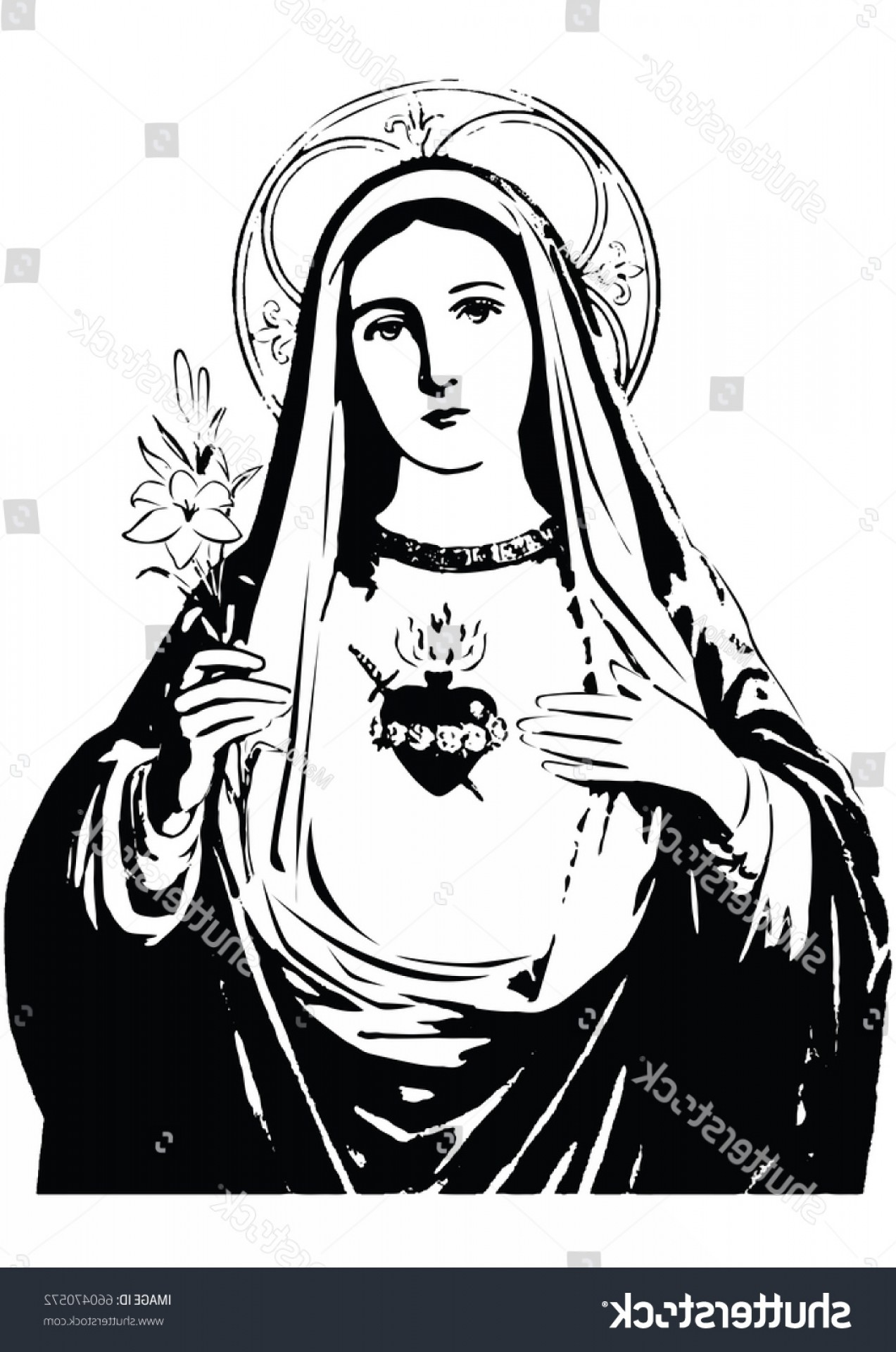 Mary Halo Vector: Immaculate Heart Mary Vector Black White