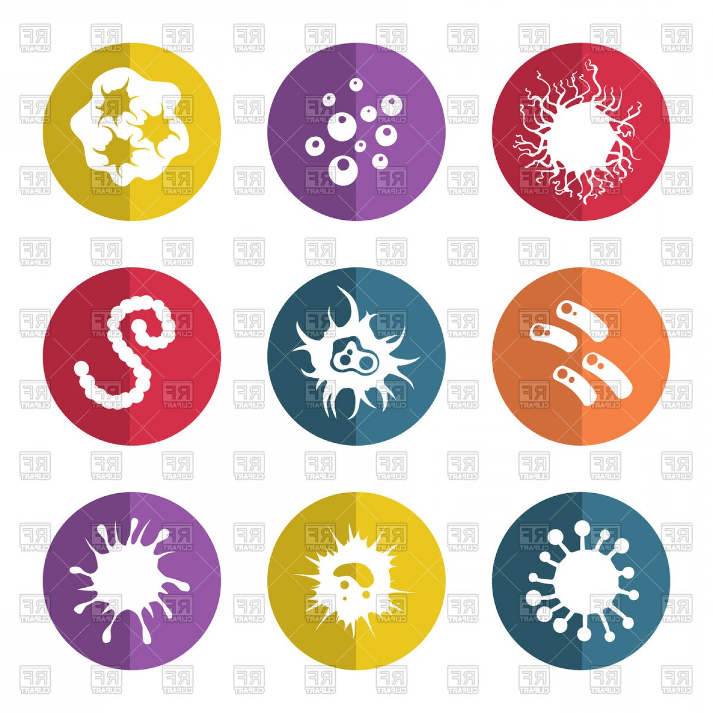 Vector -Borne Infection: Immune Bacteries And Infection Microbes Flat Style Icons Vector Clipart