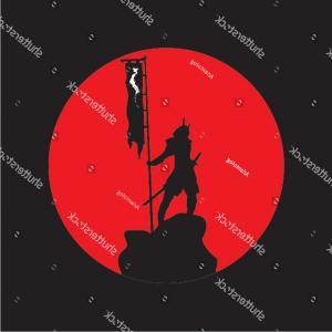 Windows Phone Vector Samurai: Image Samurai Against Background Red Sun