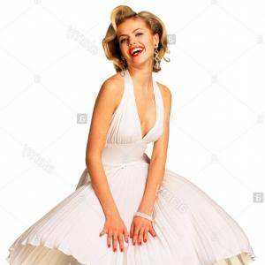 Marilyn Monroe Dress Vector: Imitation Marilyn Monroe Gesture Gust Of Wind Dress Women Woman Young Blond Stand In Studio Copy Space Pose Pose Laugh Happily Image