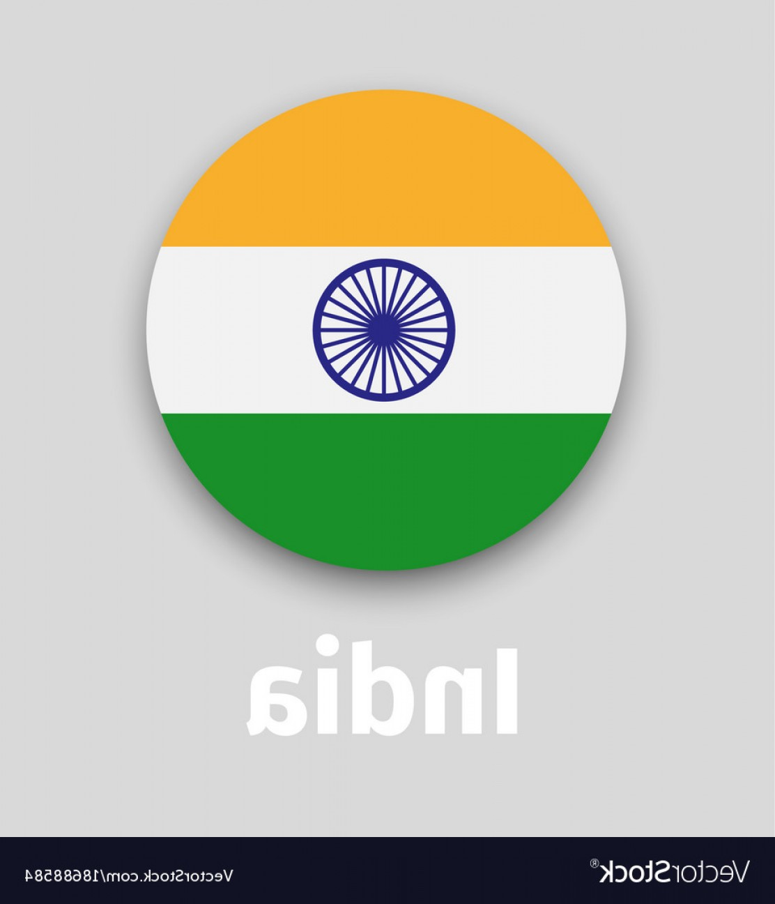 India Flag Vector: India Flag Round Icon With Shadow Vector