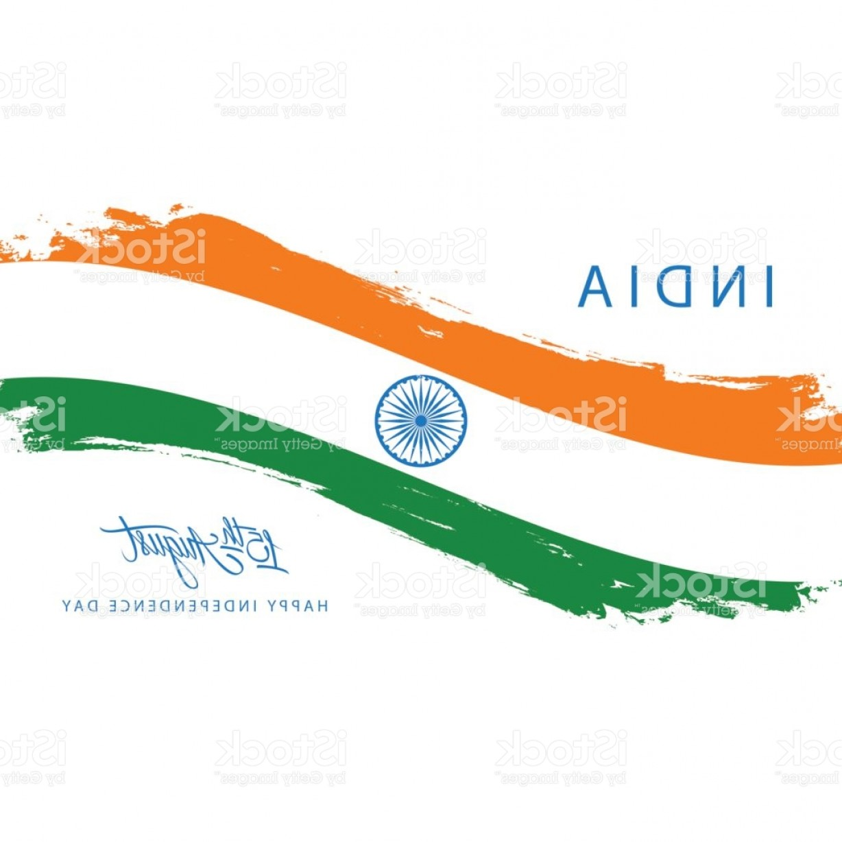 India Flag Vector: India Happy Independence Day Greeting Card With Brush Stroke In Indian National Flag Gm