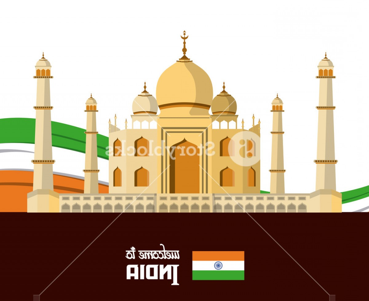 Taj Mahal Vector: India Travel Card With Taj Mahal Vector Illustration Graphic Design Hxheazpzqjjaguq