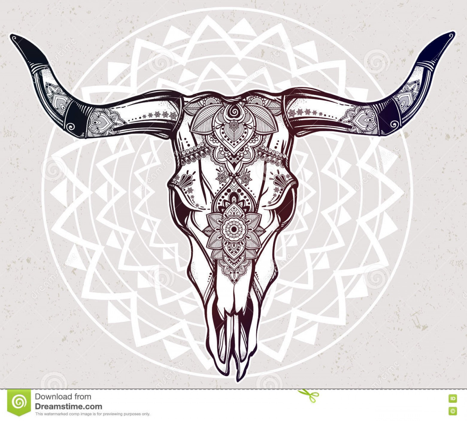 Longhorn Skull Vector: Indian Bull Skull Tattoo Hand Drawn Romantic Style Ornate Cow Skull Stock Vector Image