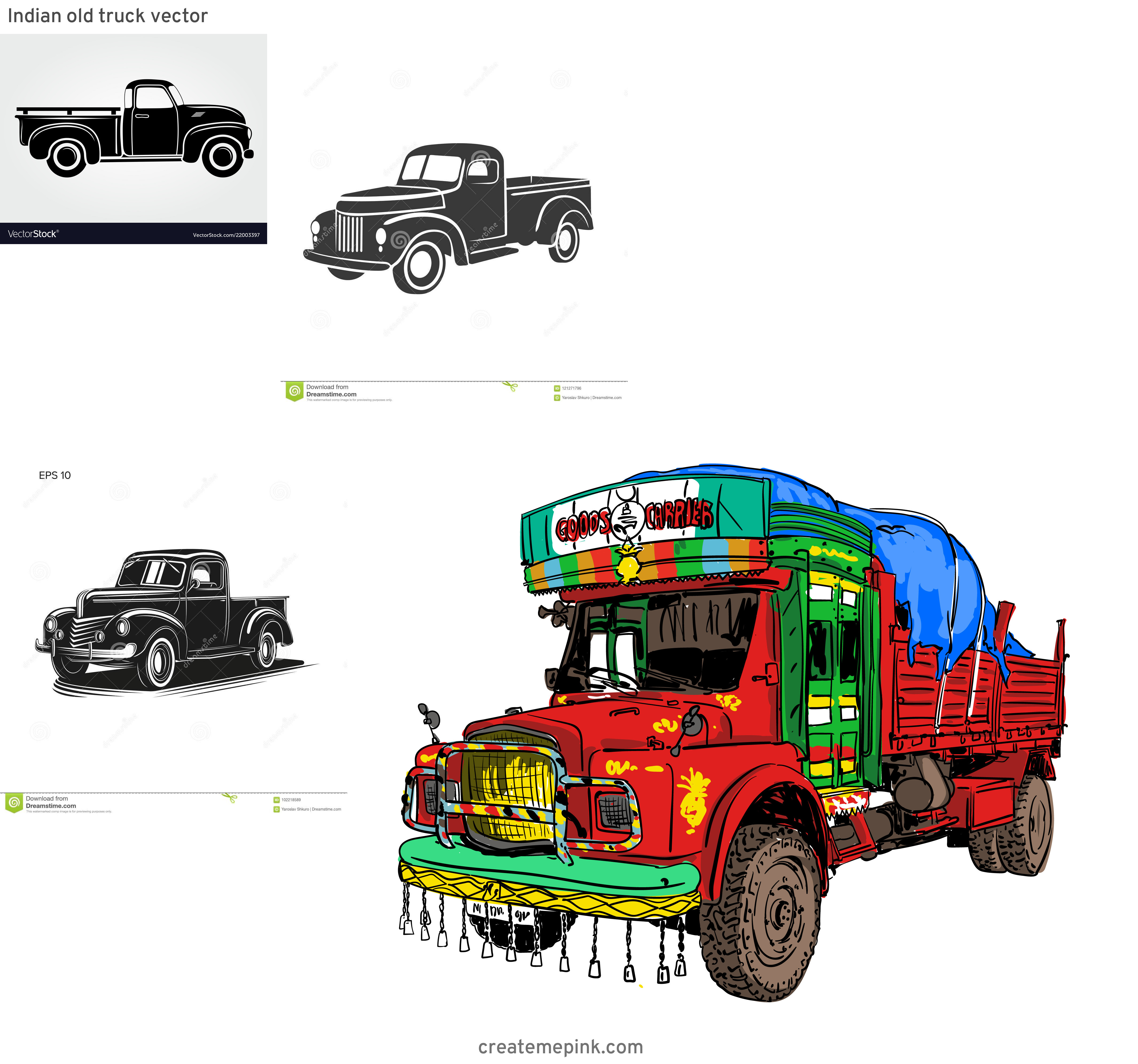 Old Truck Vector: Indian Old Truck Vector
