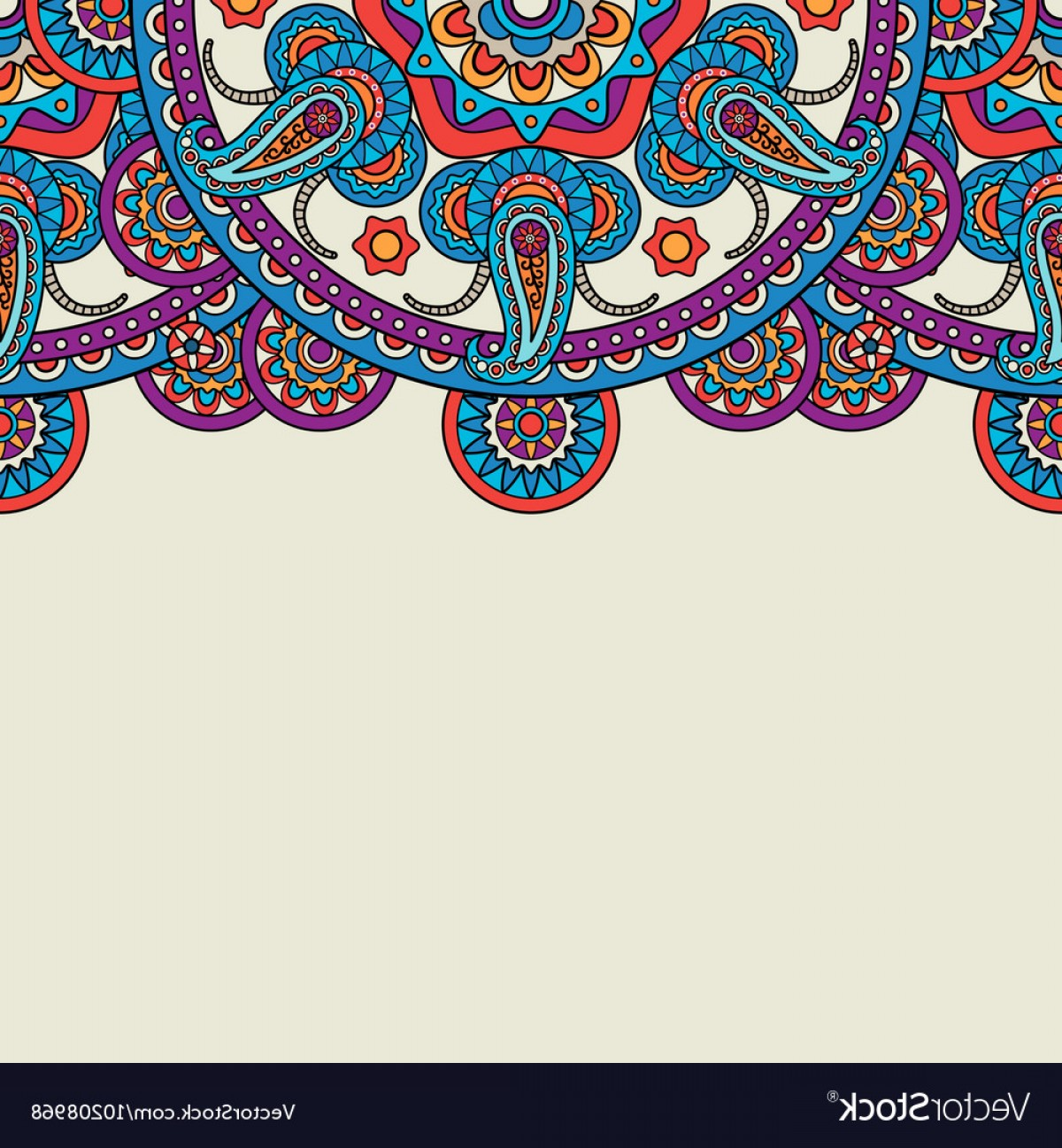 Simple Paisley Vector Border: Indian Paisley Doodle Upper Border Vector