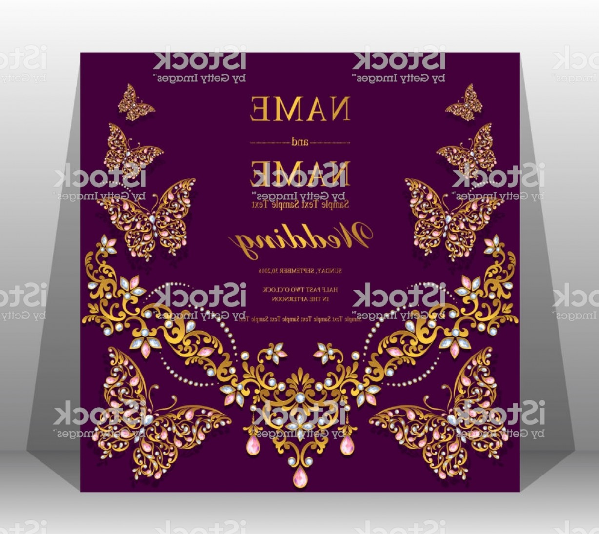 Lilac Wedding Vectors: Indian Wedding Invitation Card Templates With Gold Patterned And Crystals On Paper Gm