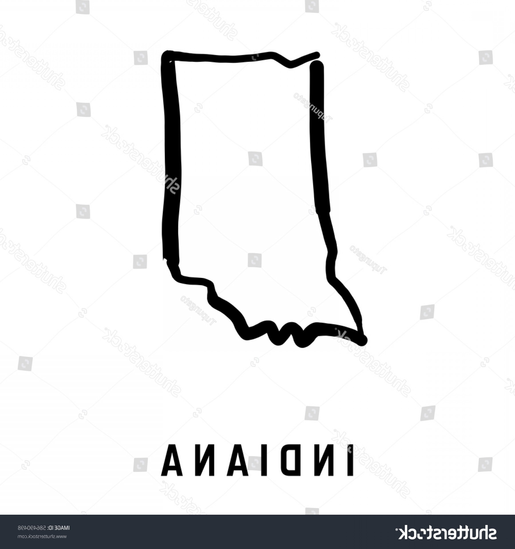 Arizona State Outline Vector: Indiana State Map Outline Smooth Simplified
