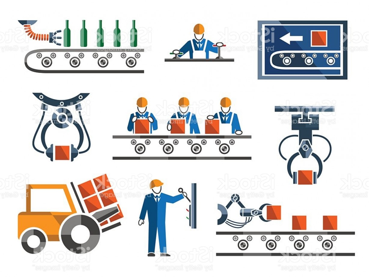 Industrial Vector Art: Industrial And Engineering Icons Set In Flat Design Style Gm