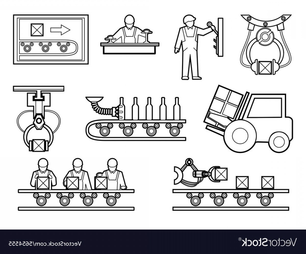 Vector Manufacturing Machine: Industrial And Manufacturing Process Icons Set In Vector