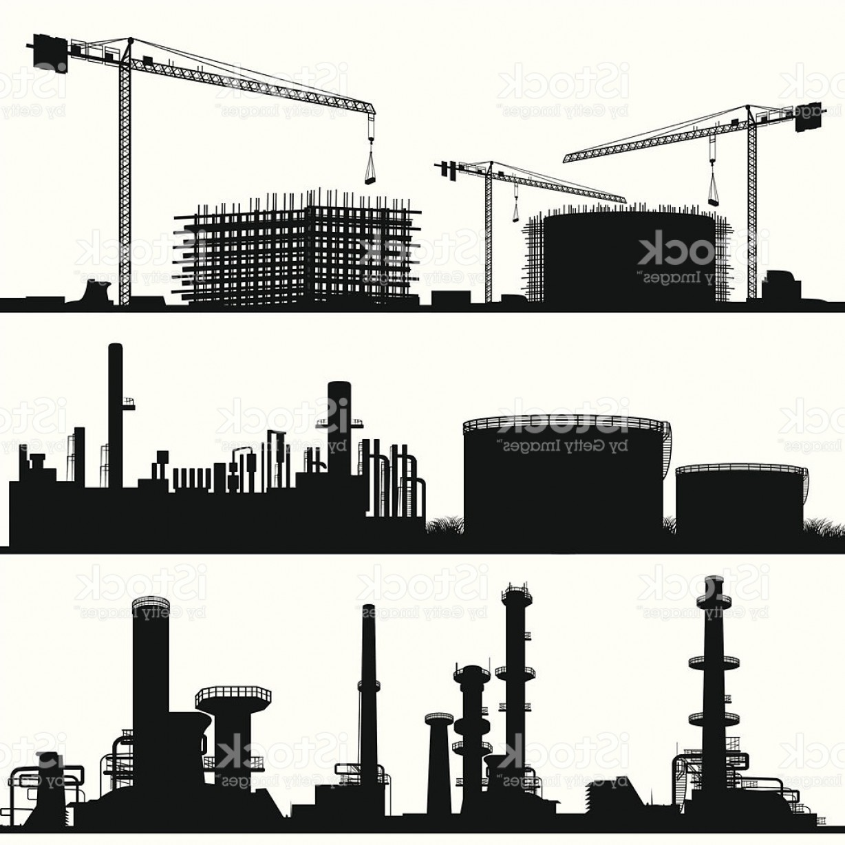 Industrial Vector Art: Industrial City Construction Site Refinerie And Power Plant Gm